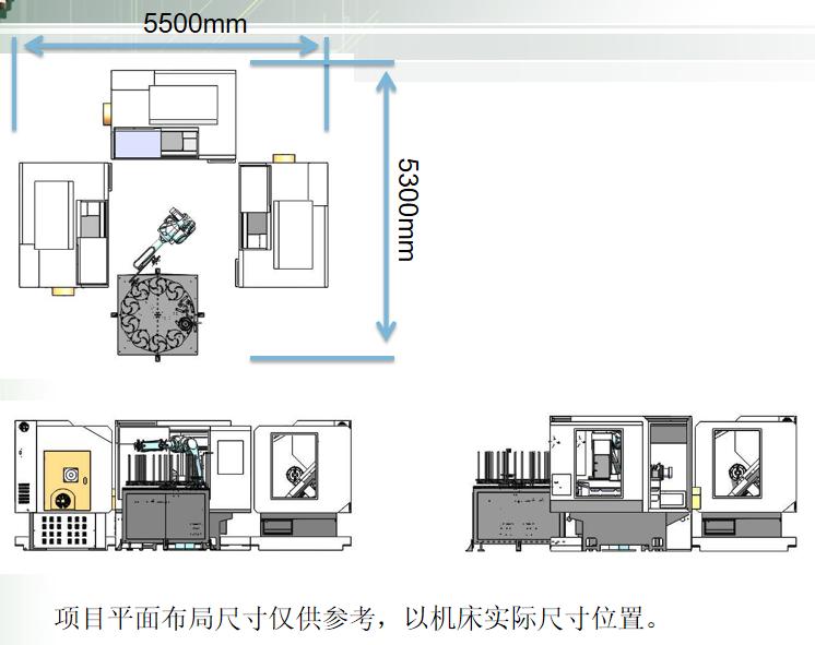 发动机活塞CNC加工中心自动上下料机器人生产线布局图2