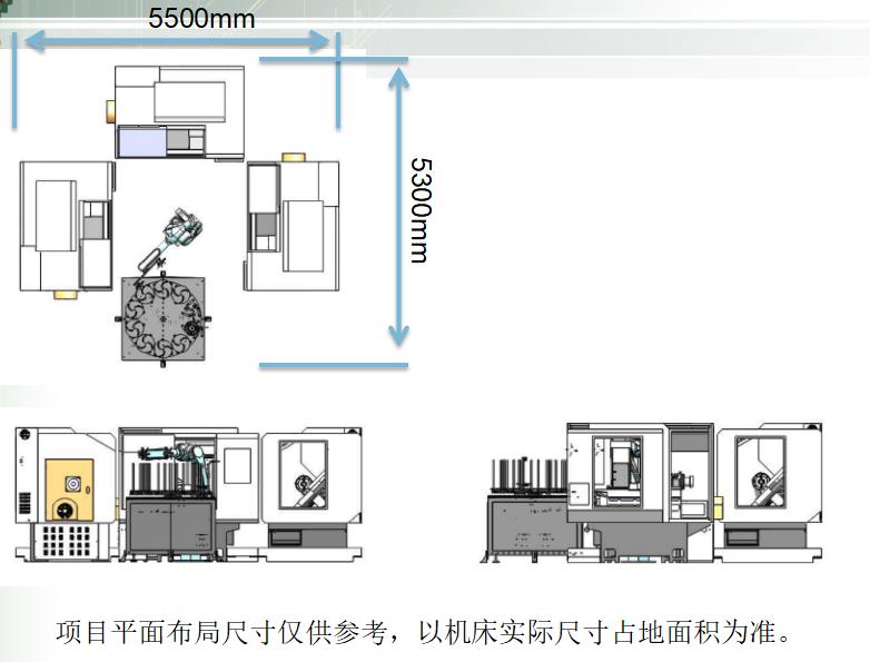 机床上下料机器人平面布局图